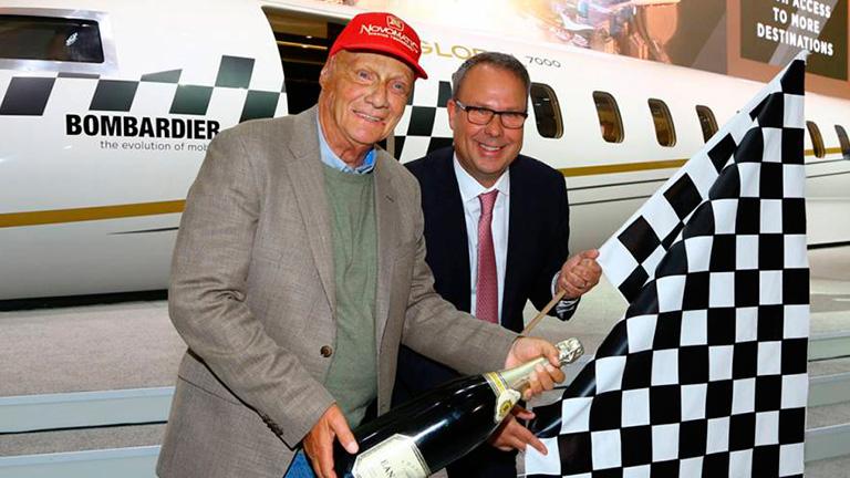 Ники Лауда и Питер Ликорей (Bombardier Business Aircraft)