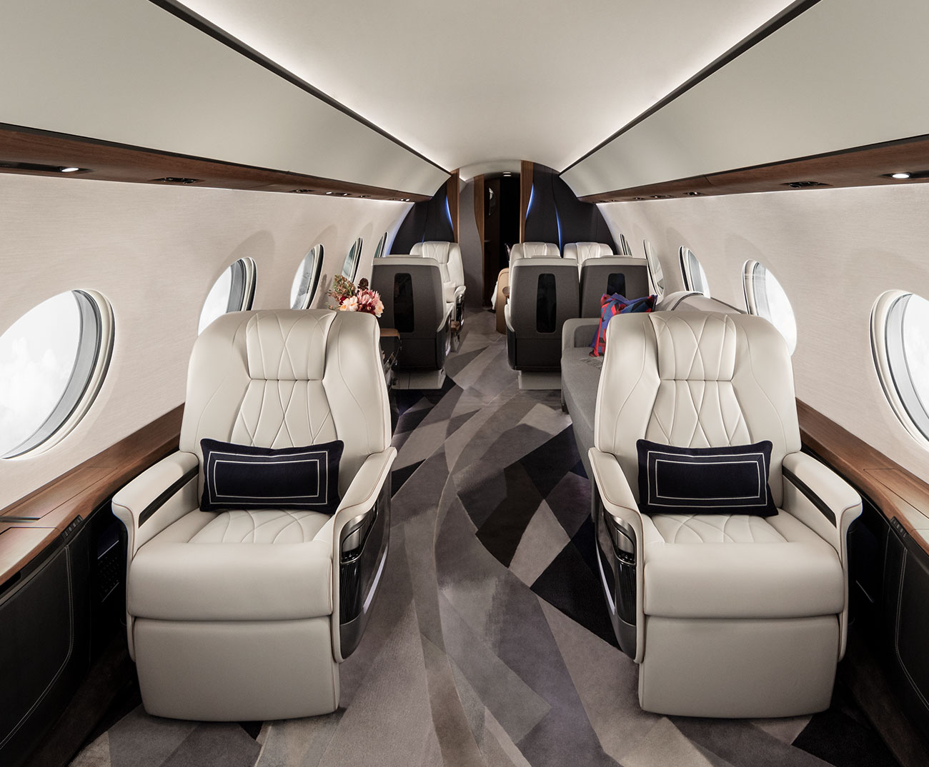 White leather seats in a private jet