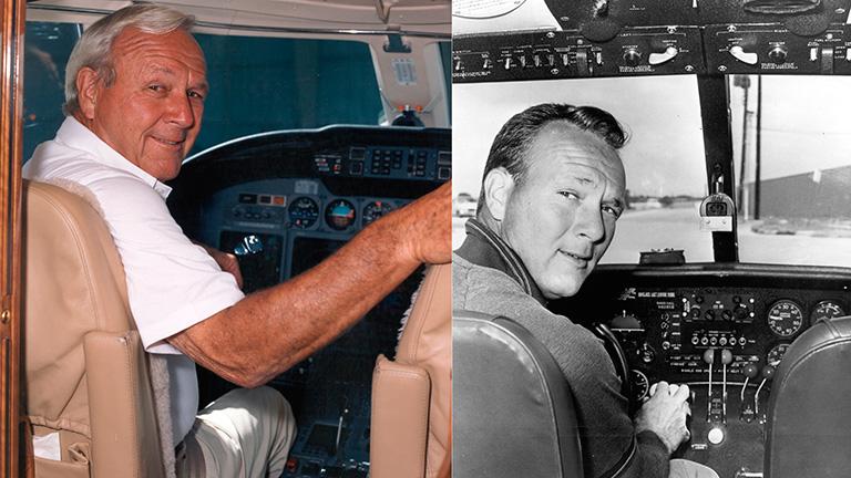 Арнольд Палмер за штурвалом своего Citation X в 1996 и фото 1966 года